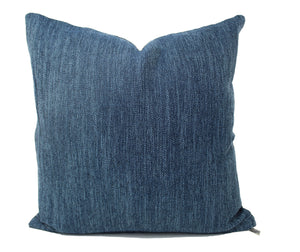 Denim Blue Linen Pillow Cover