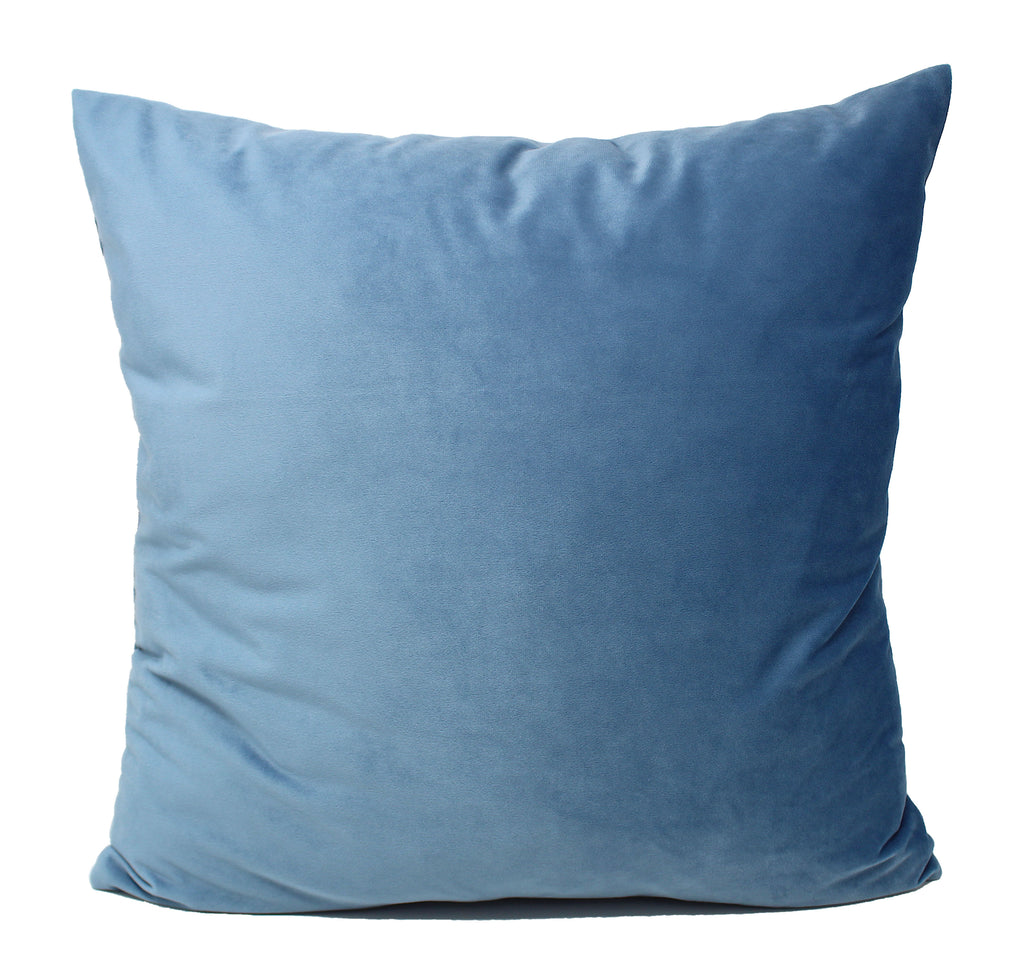 Sky Blue Velvet Pillow Cover