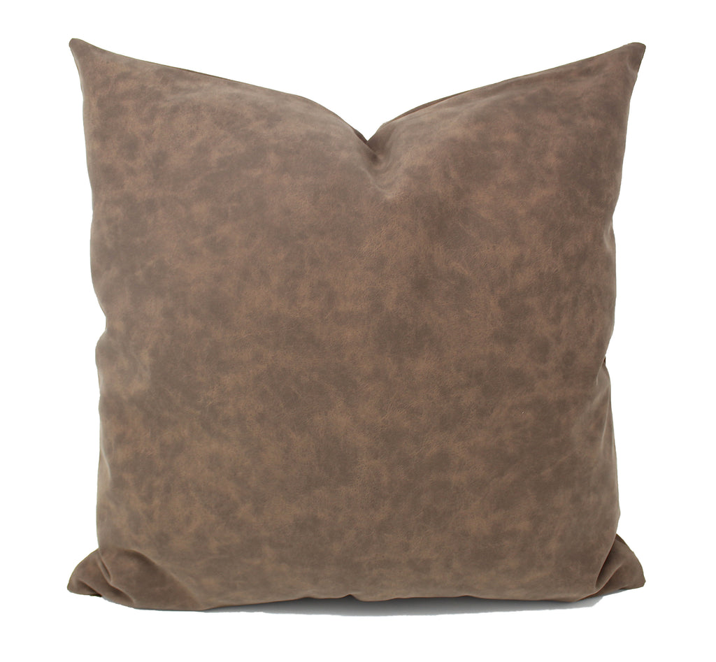 Chocolate Brown Faux Leather Pillow Cover