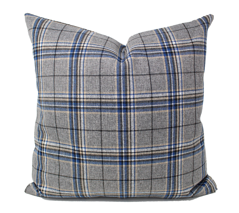 Gray/Blue Plaid Pillow Cover