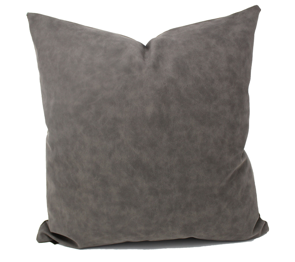 Stone Gray Faux Leather Pillow Cover
