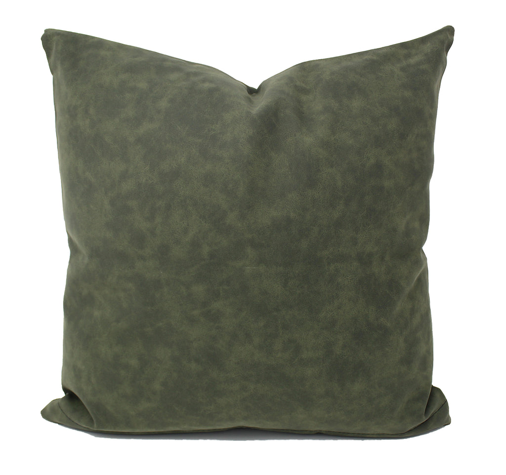 Hunter Green Faux Leather Pillow Cover