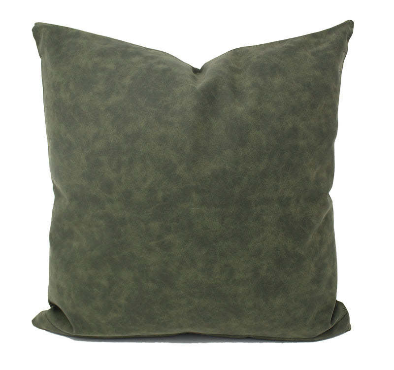 Dark Green Faux Leather Pillow Cover