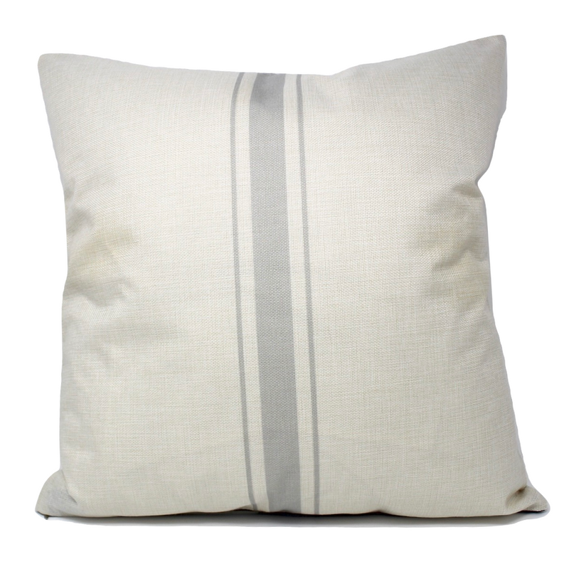 Grey Ticking Stripe Pillow Cover