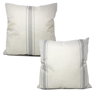 Grey Ticking Stripe Pillow Covers