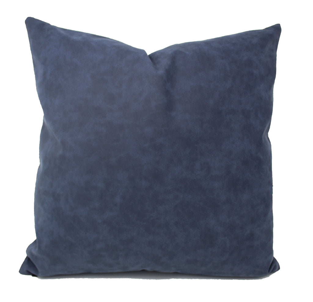 Navy Blue Faux Leather Pillow Cover
