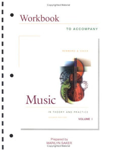 Workbook To Accompany Music In Theory And Practice, Vol. 1 (Book & Cd-Rom)