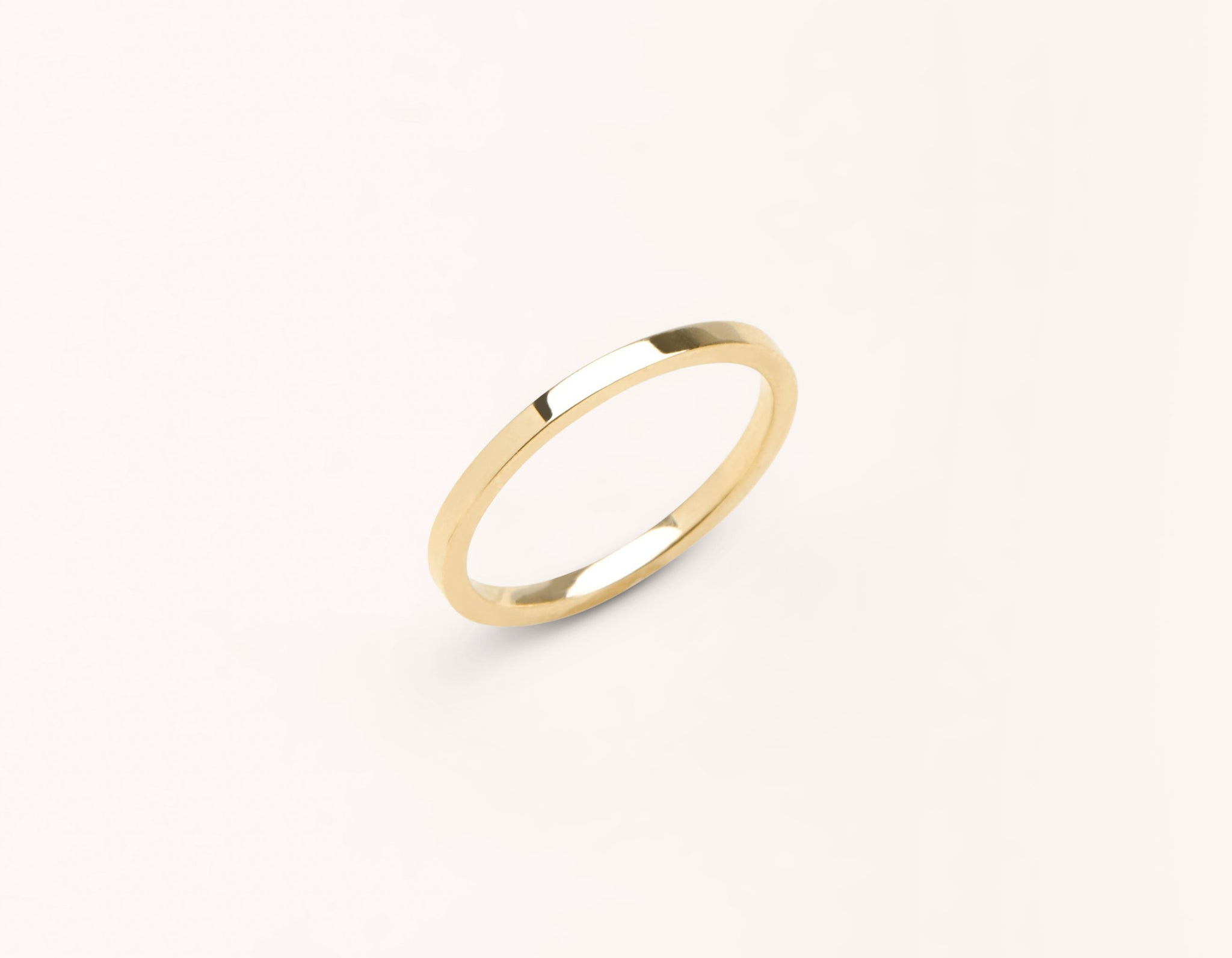 Minimalist 18k solid yellow gold 1.5 mm Flat Wedding Band for men and women Vrai and Oro