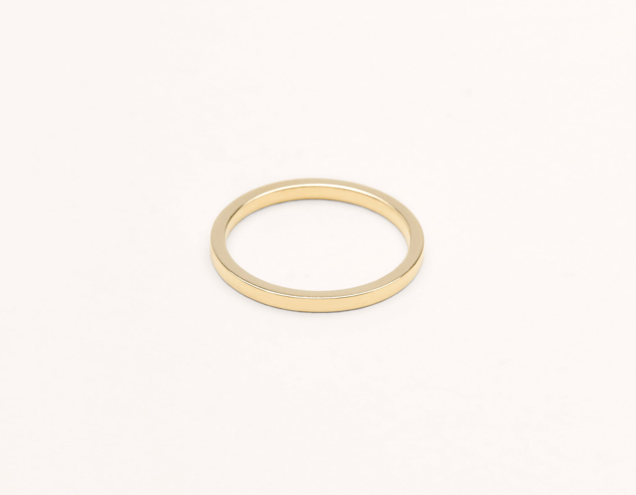 Simple modern 18k solid yellow gold 1.5 mm Flat men's women's Wedding Band Vrai & Oro