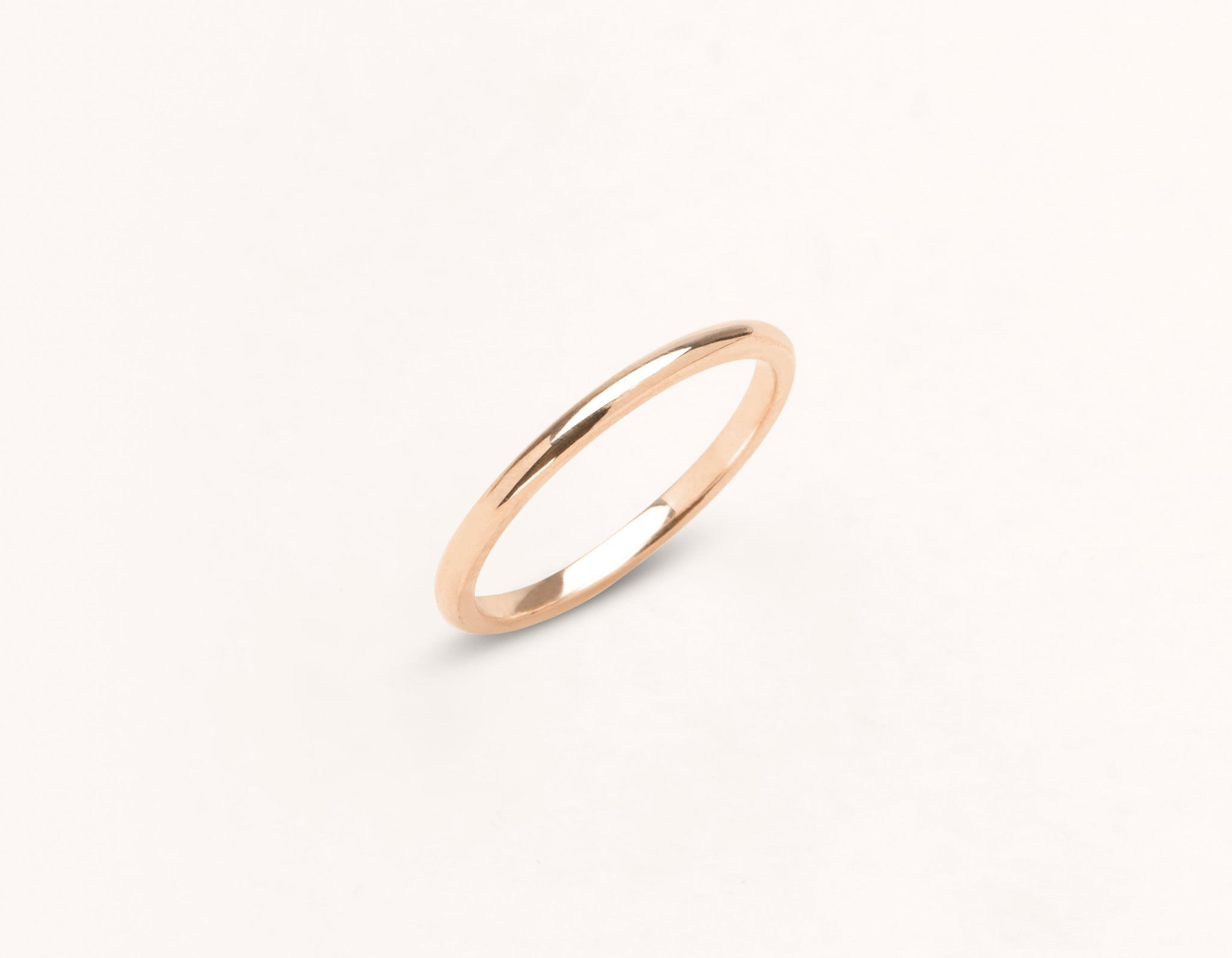 Minimalist 18k solid rose gold 1.5 mm Round Wedding Band for men and women Vrai and Oro