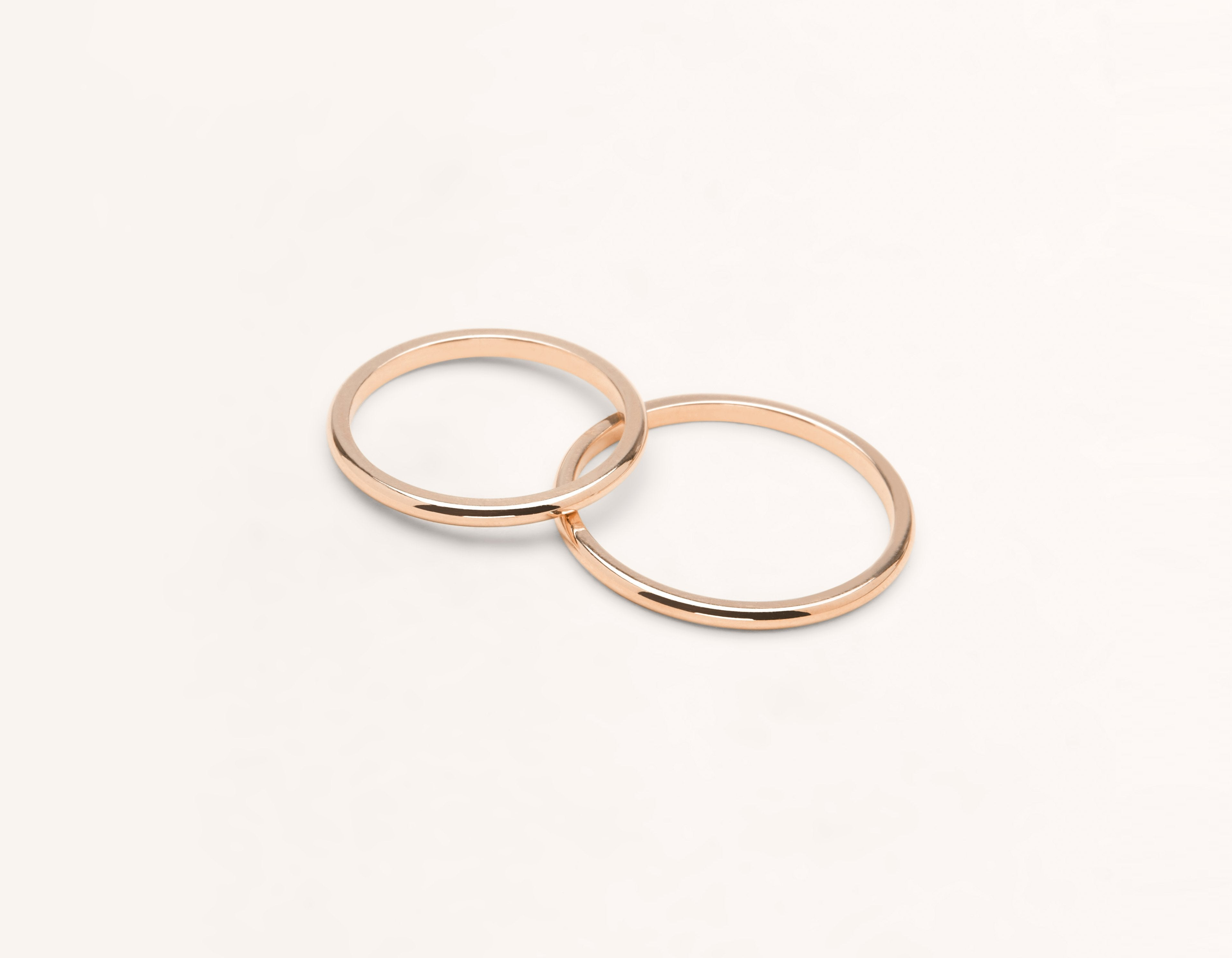 Vrai Oro 18k Solid Rose Gold Wedding Band 1 5 Round Unisex Simple Classic Band