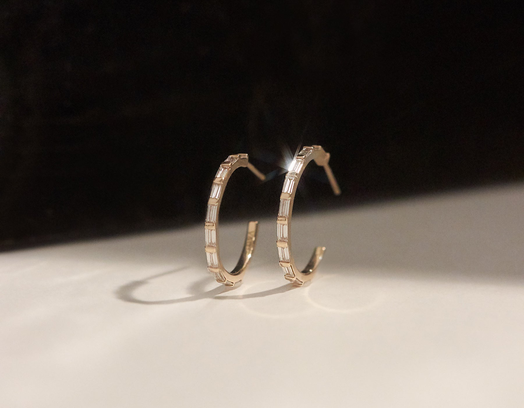 Vrai & Oro simple 14k solid gold Baguette Diamond Hoops sustainable diamonds Diamond Foundry