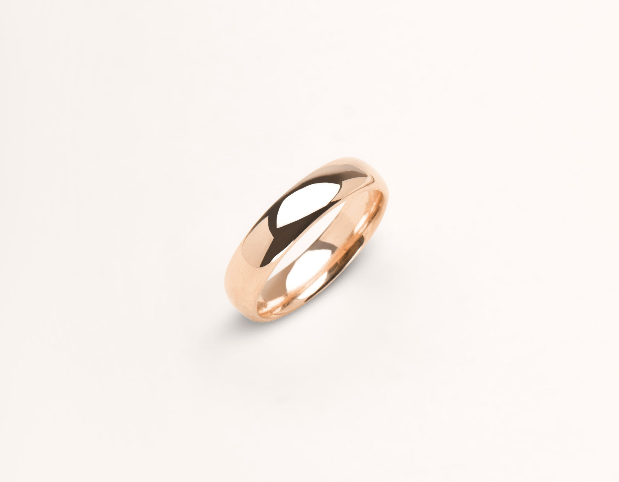 Minimalist 18k solid rose gold 4.5 mm Round Wedding Band for men and women Vrai and Oro