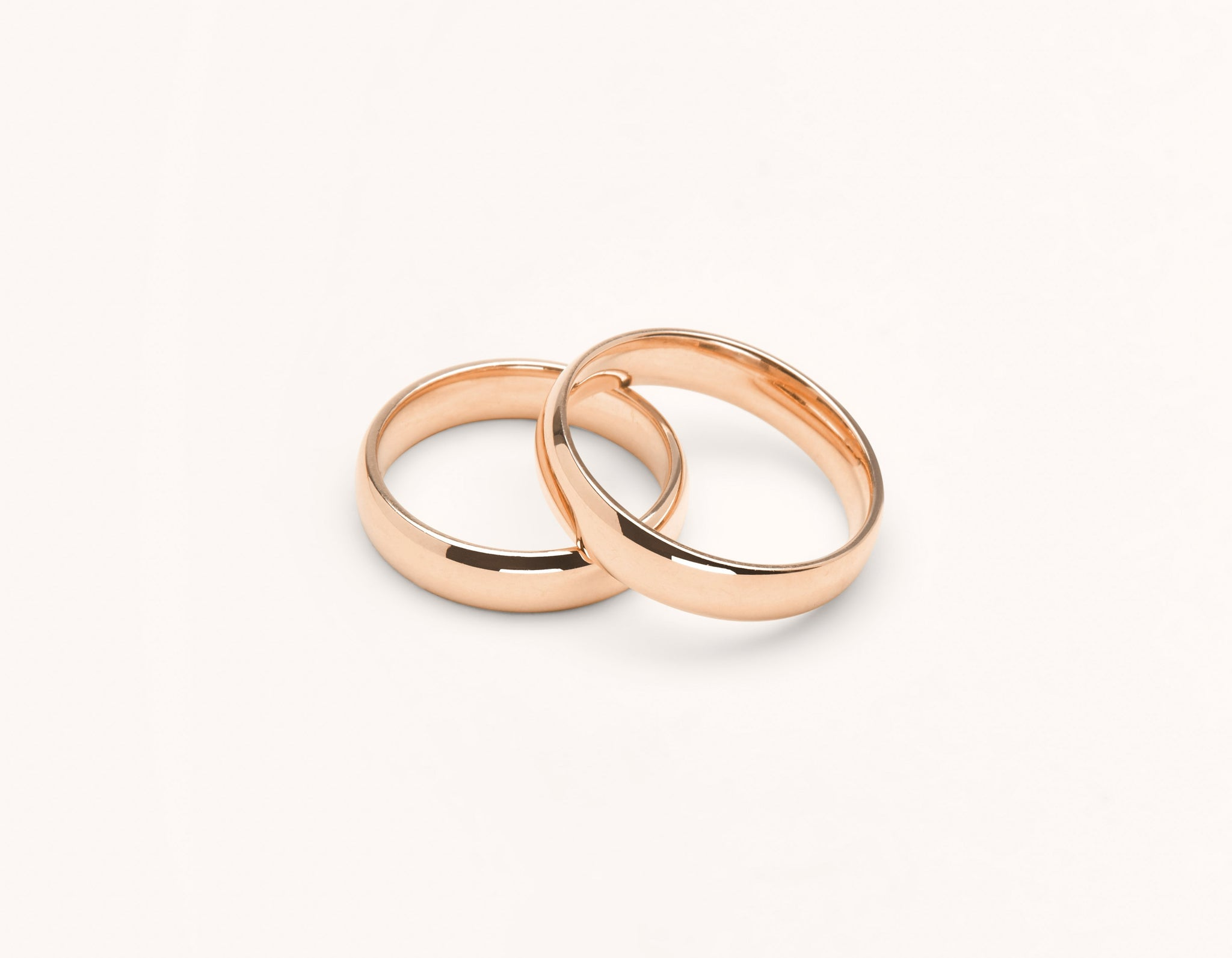 Vrai & Oro 18k solid rose gold Wedding Band 4.5 Round unisex simple classic band