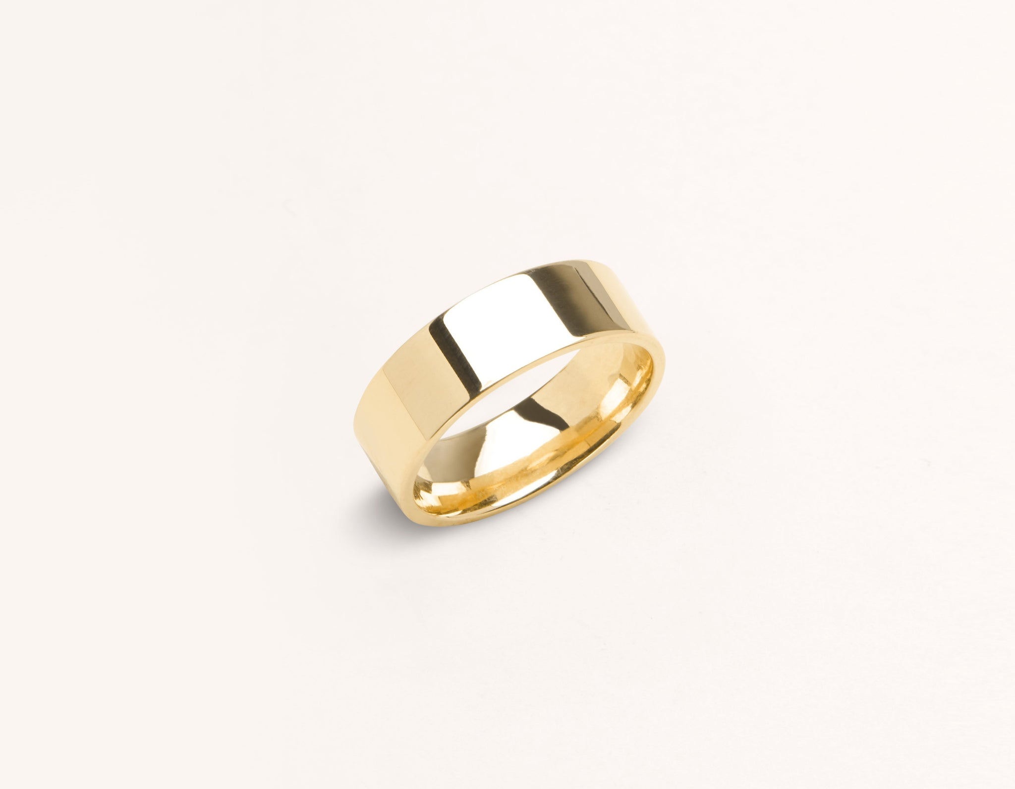 Minimalist 18k solid yellow gold 6 mm Flat Wedding Band for men and women Vrai and Oro