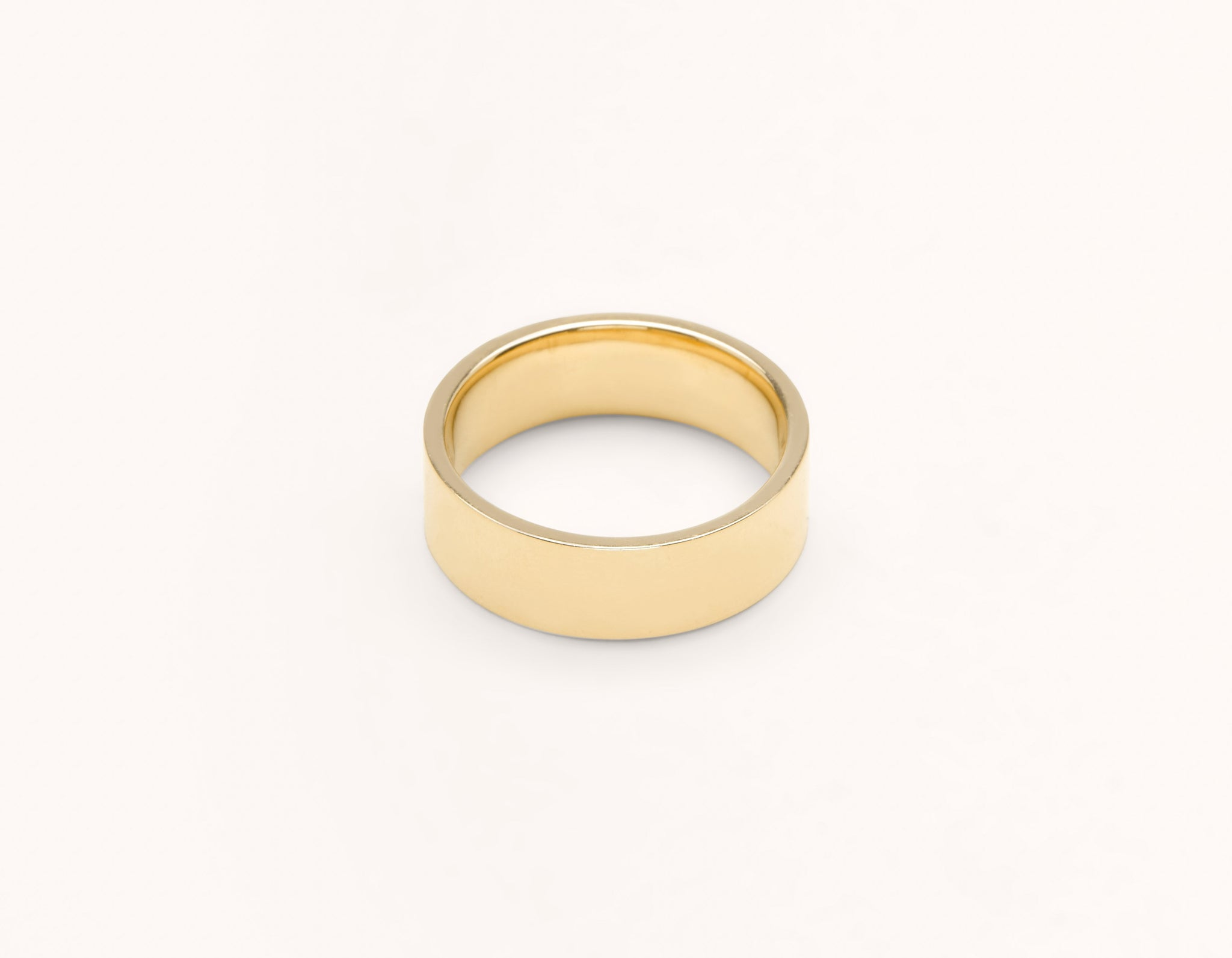 Simple modern 18k solid yellow gold 6 mm Flat men's women's Wedding Band Vrai & Oro