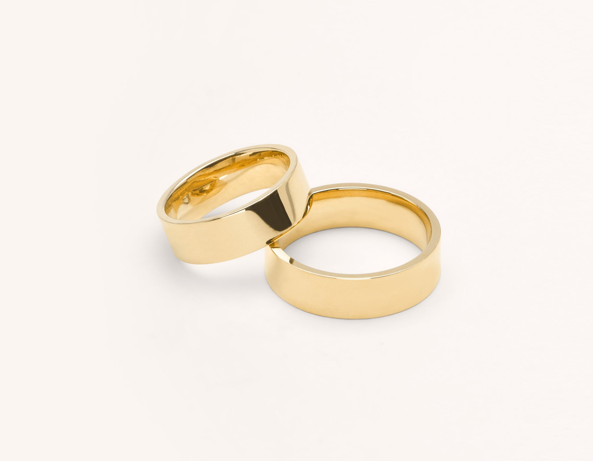 Vrai & Oro 18k solid yellow gold Wedding Band 6 Flat unisex simple classic band