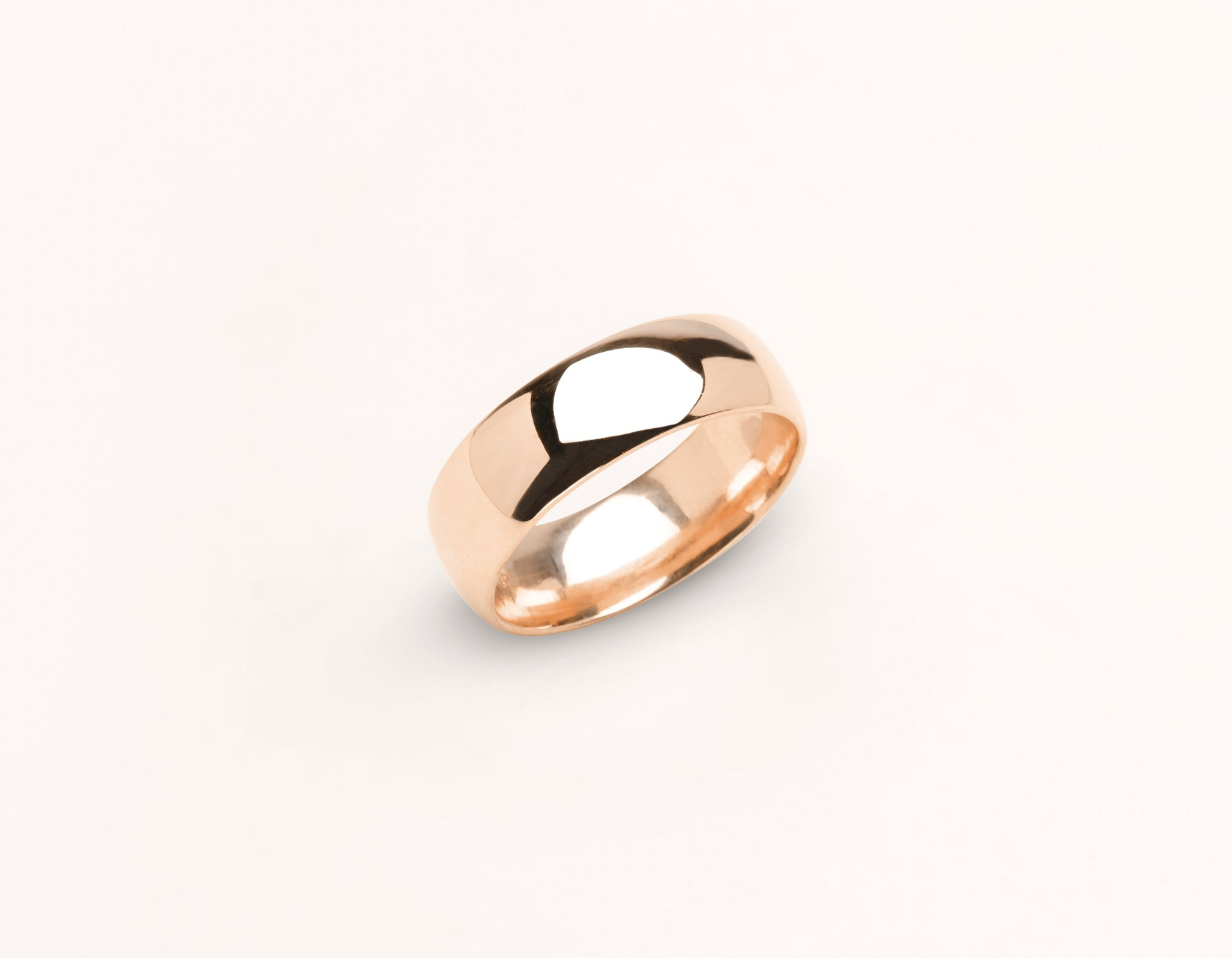 Minimalist 18k solid rose gold 6 mm Round Wedding Band for men and women Vrai and Oro