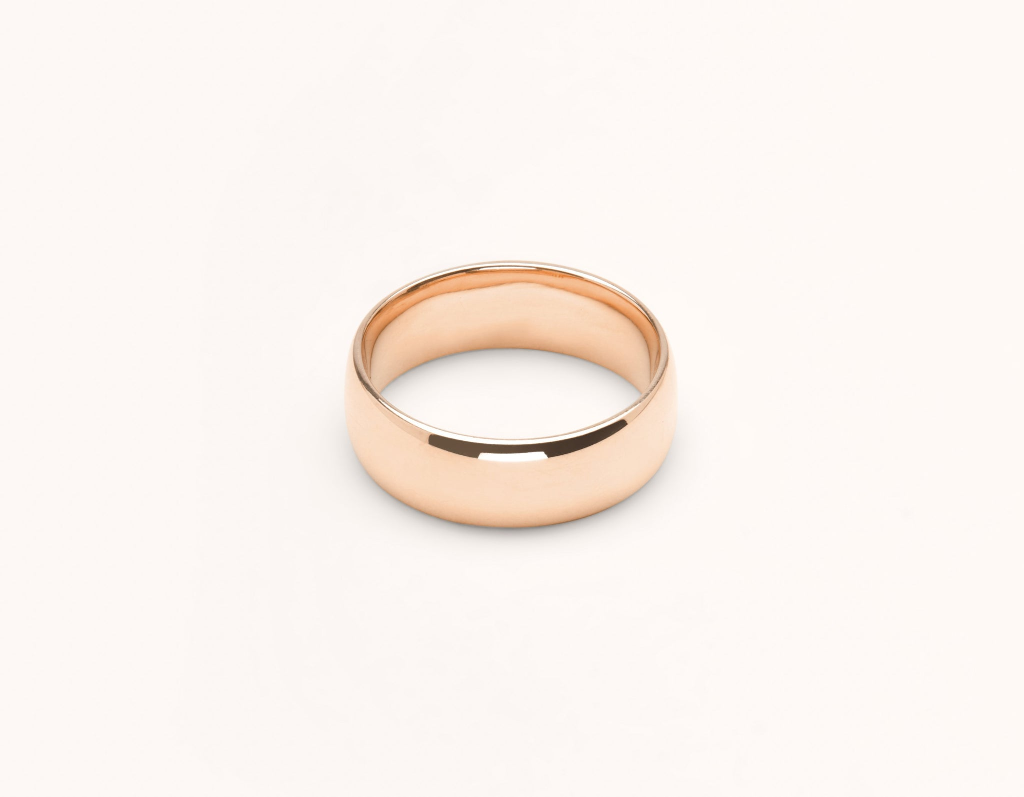 Simple modern 18k solid rose gold 6 mm Round men's women's Wedding Band Vrai & Oro