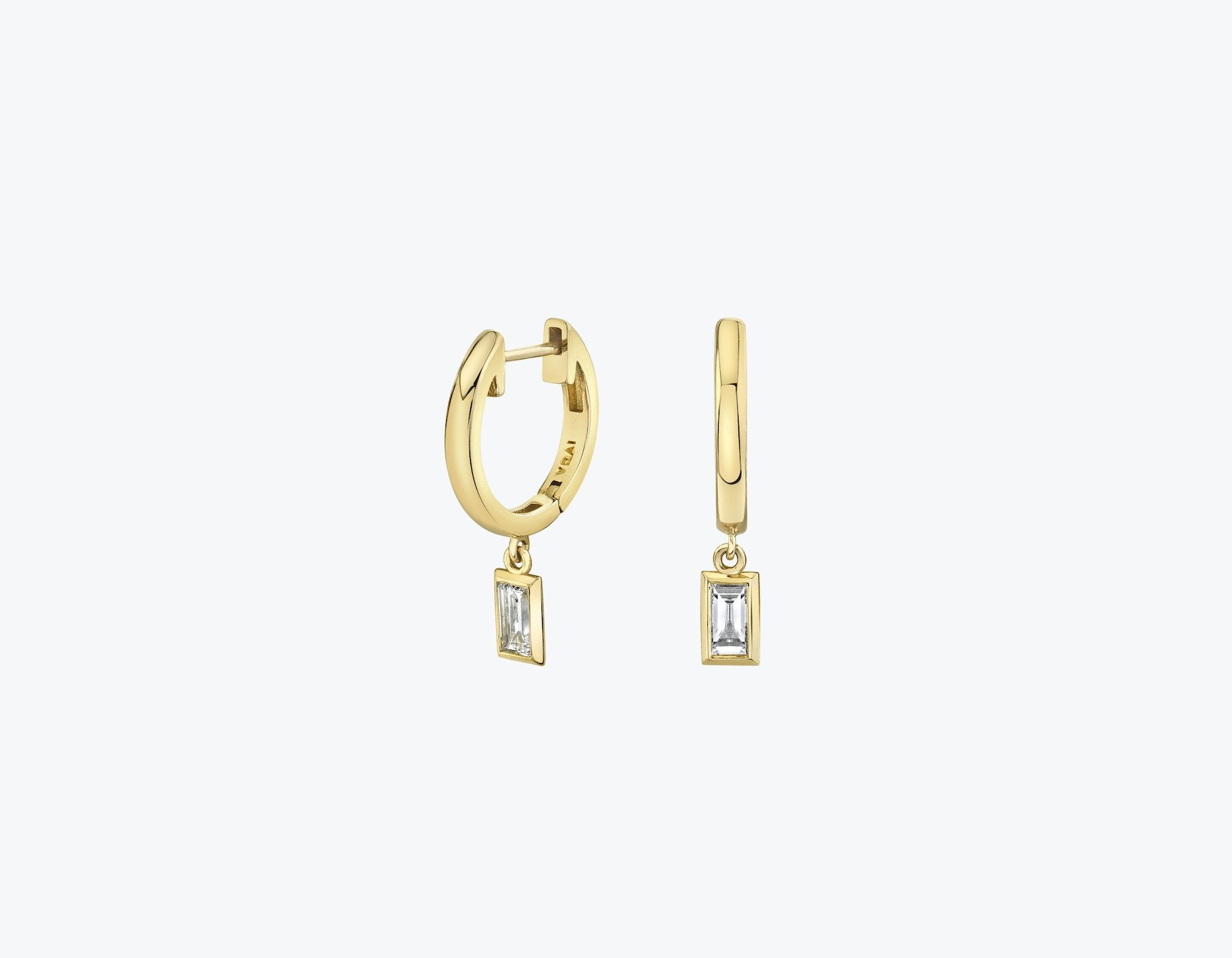VRAI Baguette diamond bezel drop huggie hoop in 14k solid gold and sustainably created diamonds, 14K Yellow Gold