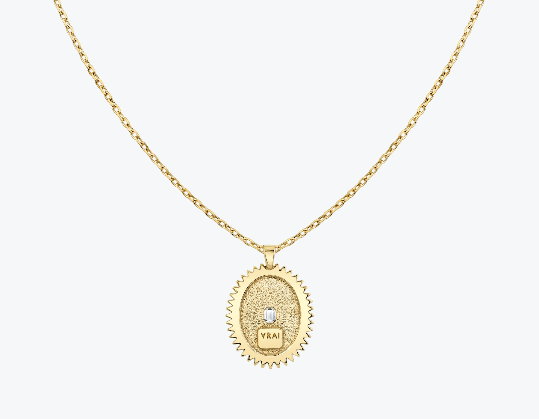 VRAI Inner Light Medallion with .10ct Emerald cut diamond necklace 14k solid gold