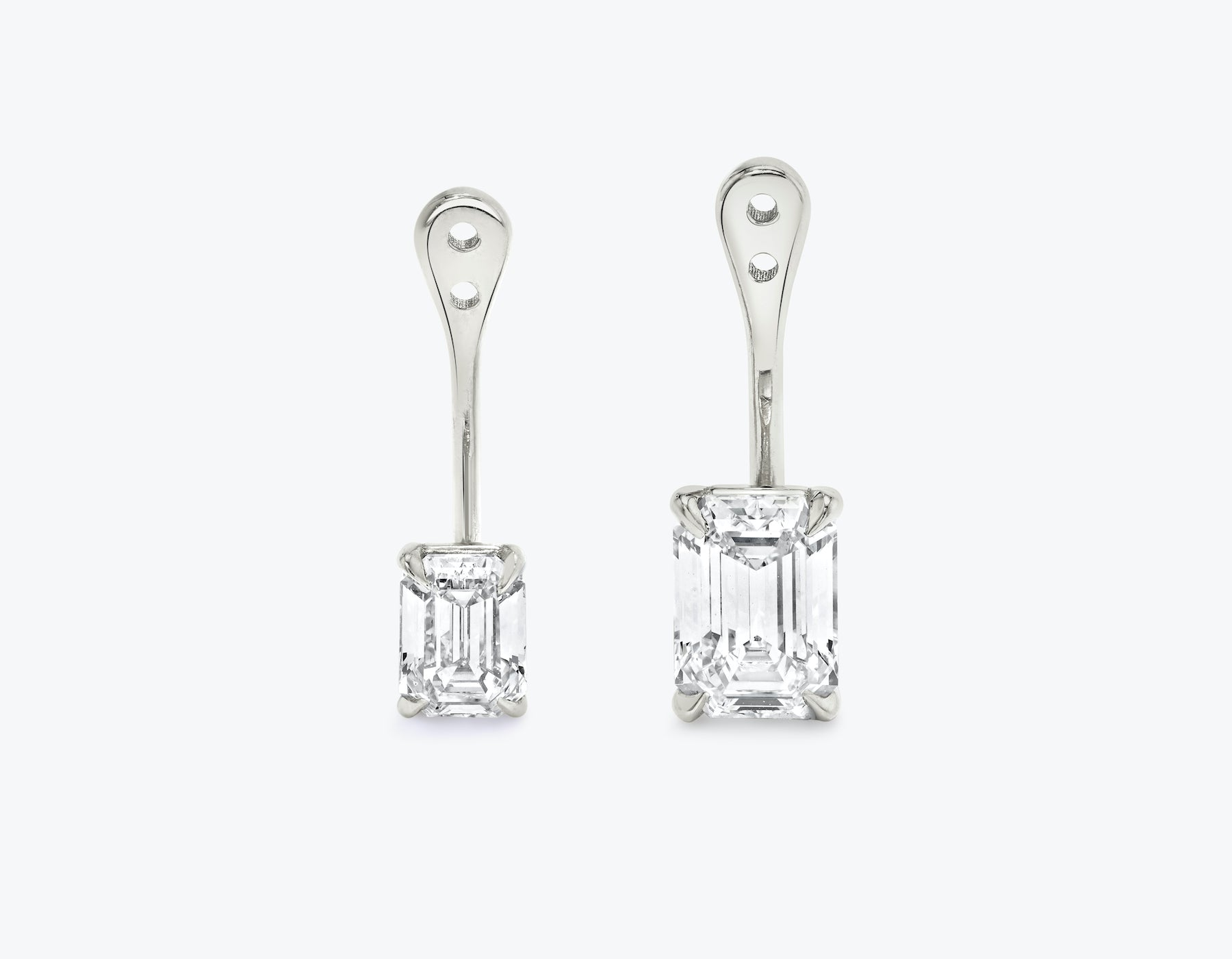 Vrai solitaire emerald diamond drop ear jackets made in 14k solid gold with sustainably created diamonds, 14K White Gold