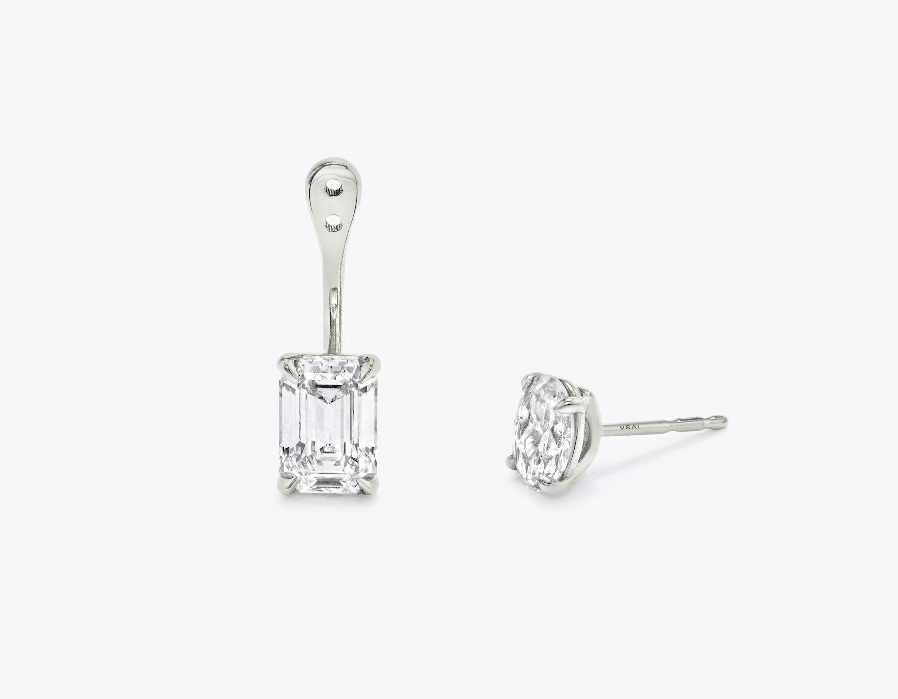 Vrai solitaire emerald diamond drop ear jackets made in 14k solid gold with sustainably created diamonds with round solitaire diamond stud, 14K White Gold