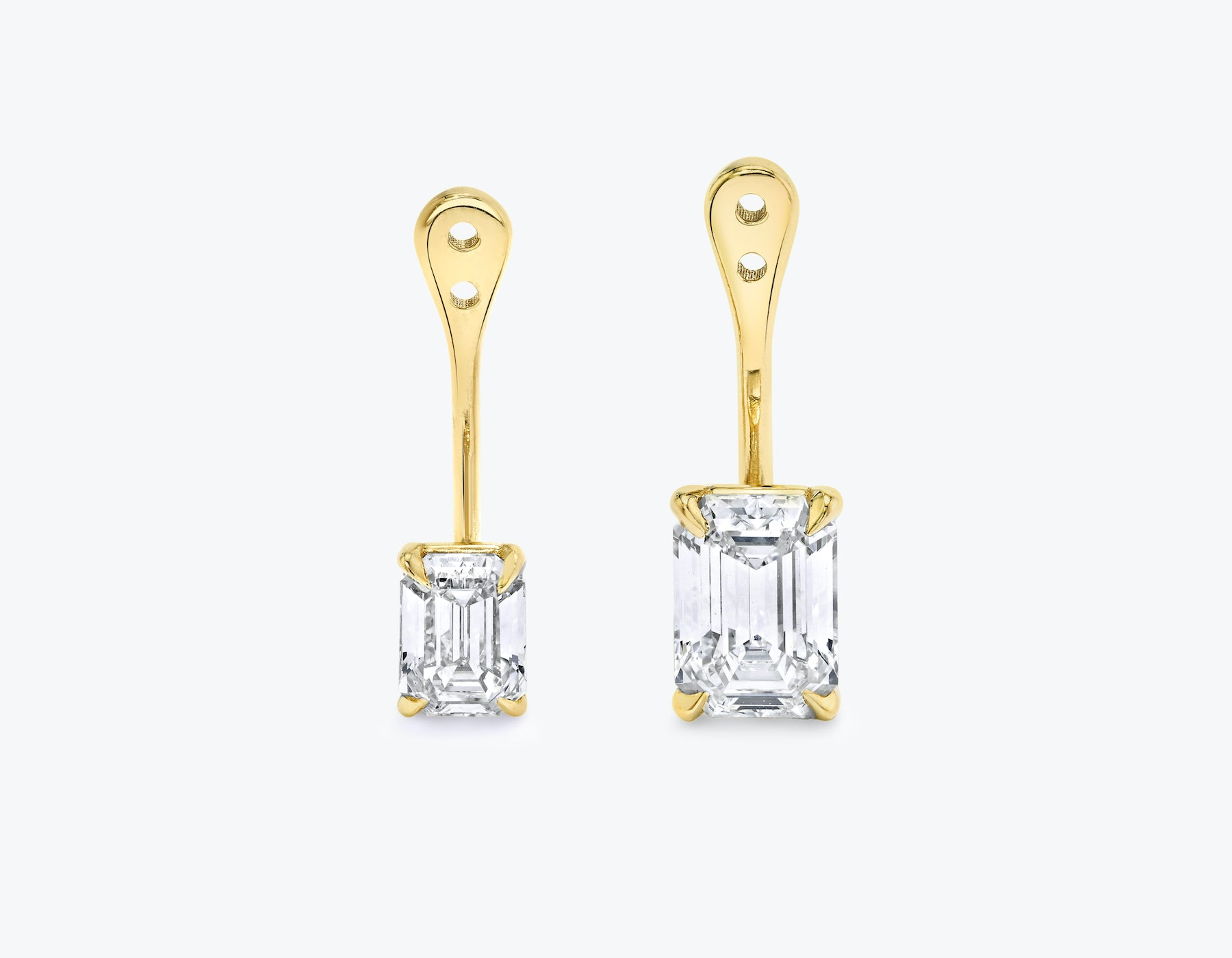 Vrai solitaire emerald diamond drop ear jackets made in 14k solid gold with sustainably created diamonds, 14K Yellow Gold