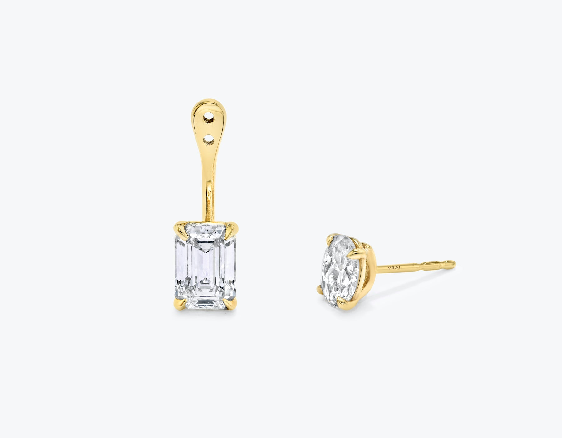 Vrai solitaire emerald diamond drop ear jackets made in 14k solid gold with sustainably created diamonds with round solitaire diamond stud, 14K Yellow Gold