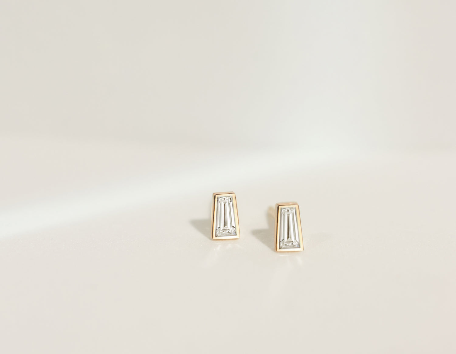 Vrai & Oro 14k solid yellow gold tapered Baguette diamond studs modern minimalist earrings