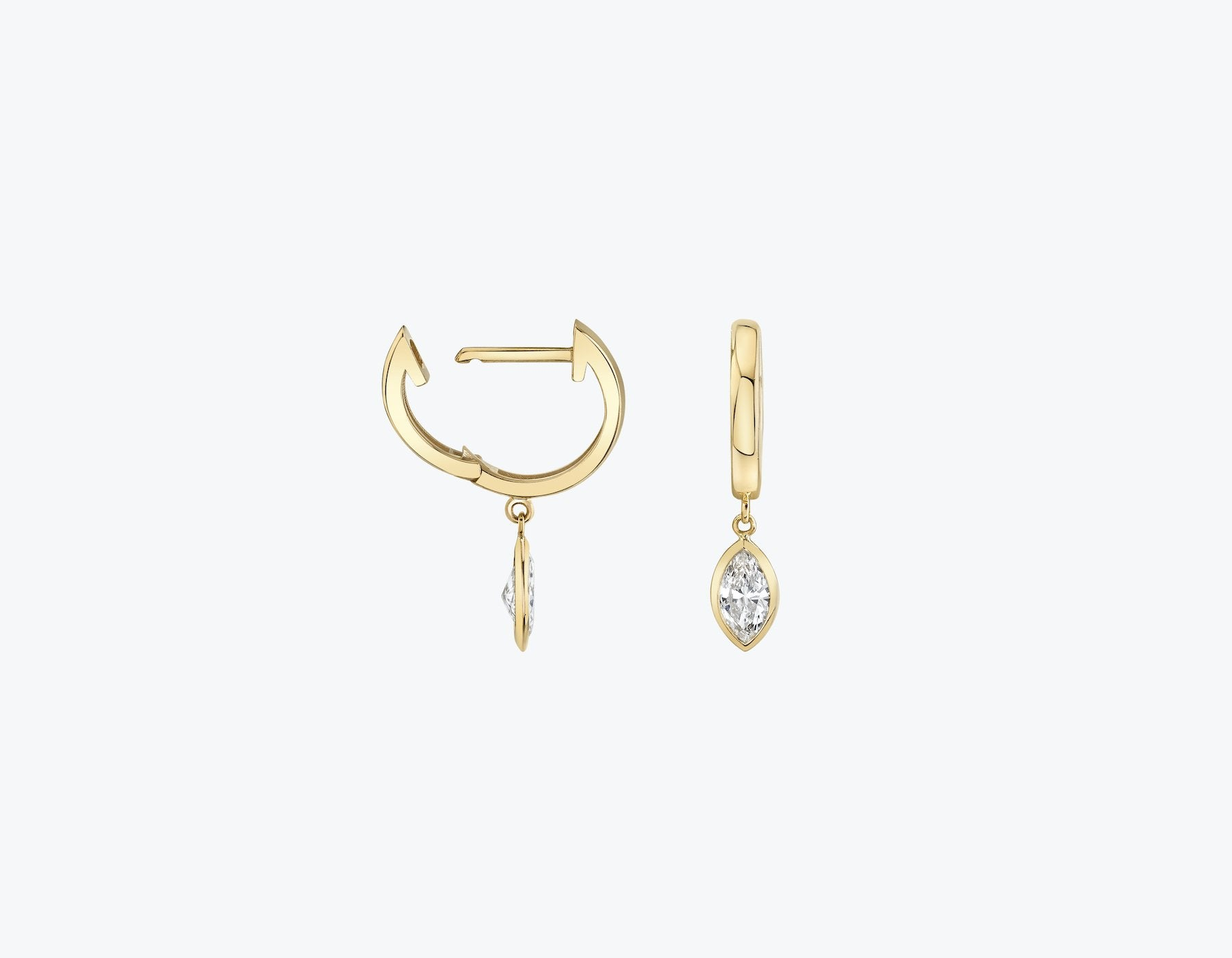VRAI Marquise diamond bezel drop huggie hoop in 14k solid gold and sustainably created diamonds, 14K Yellow Gold
