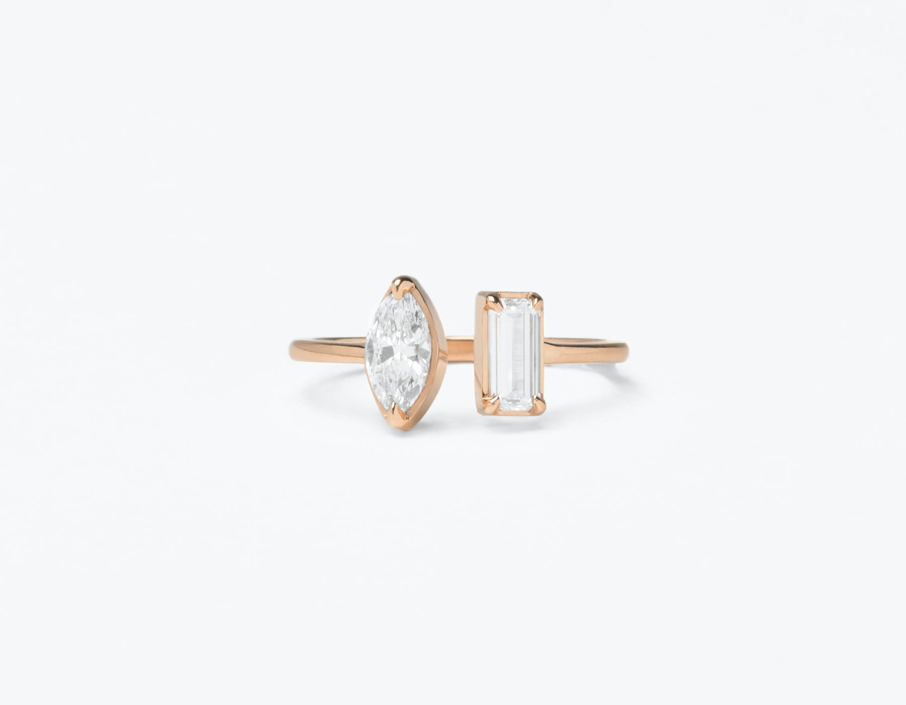 Modern Minimalist 18K solid gold Mix Baguette and Marquise Diamond Cuff Ring Vrai and Oro, 18K Rose Gold