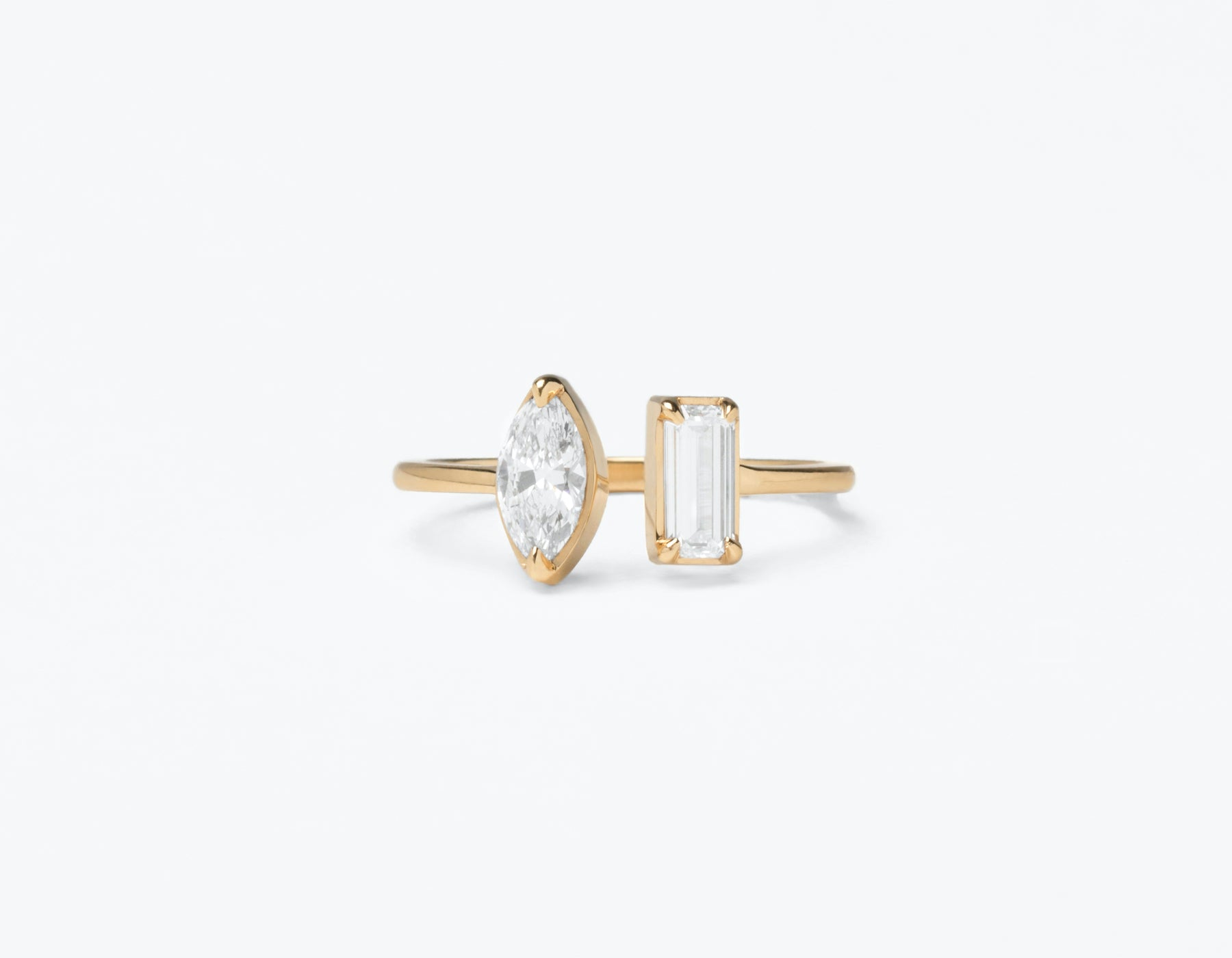 Modern Minimalist 18K solid gold Mix Baguette and Marquise Diamond Cuff Ring Vrai and Oro, 18K Yellow Gold