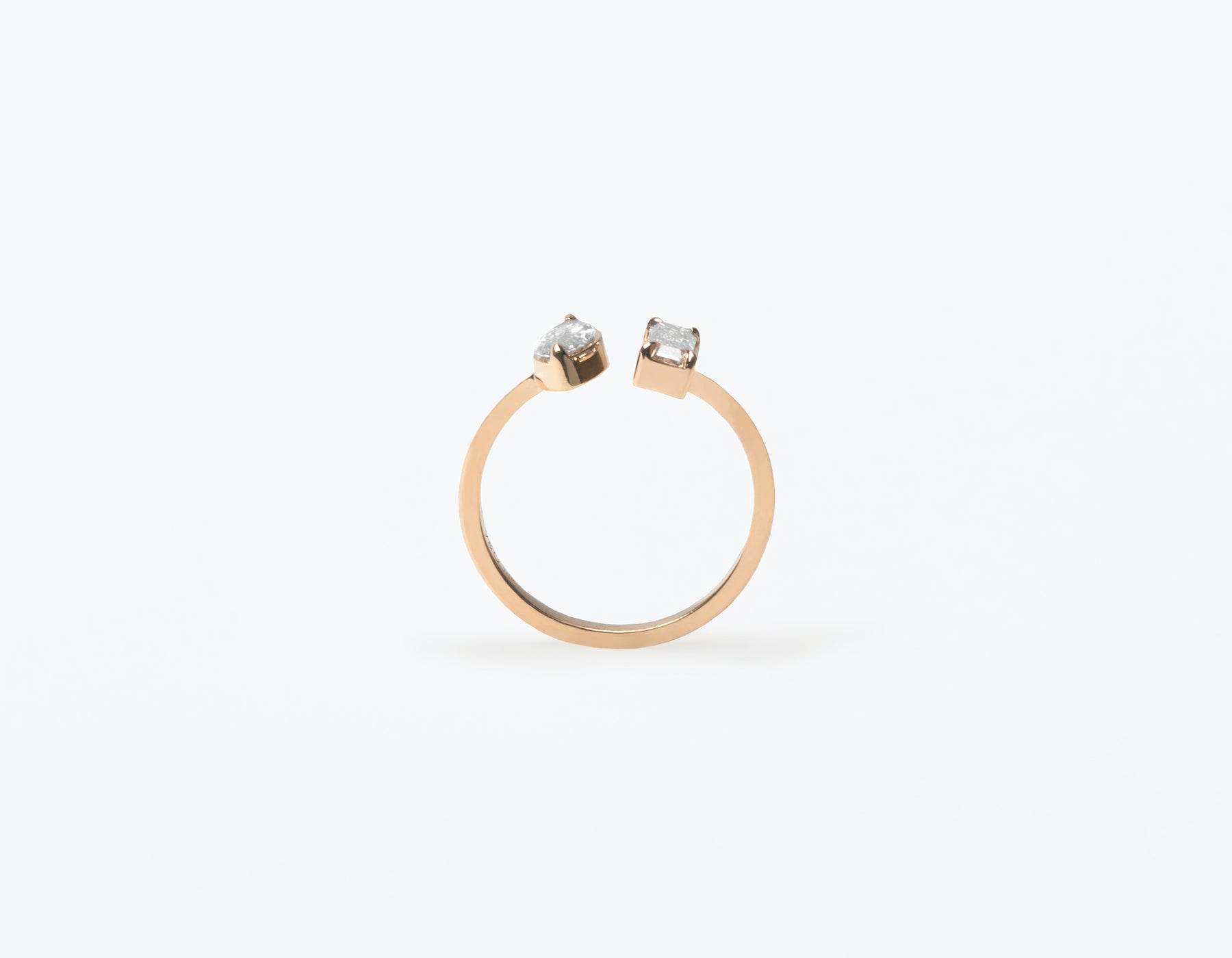 Modern Minimalist 18K solid gold Mix Baguette and Marquise Diamond Cuff Ring Vrai and Oro, 14K Rose Gold
