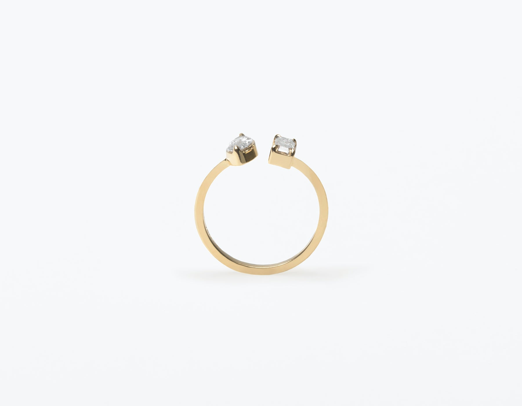 Modern Minimalist 18K solid gold Mix Baguette and Marquise Diamond Cuff Ring Vrai and Oro, 14K Yellow Gold