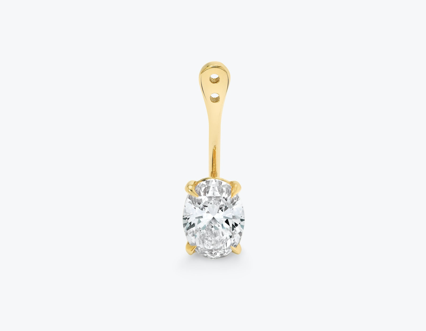 Vrai solitaire oval diamond drop ear jackets made in 14k solid gold with sustainably created diamonds, 14K Yellow Gold