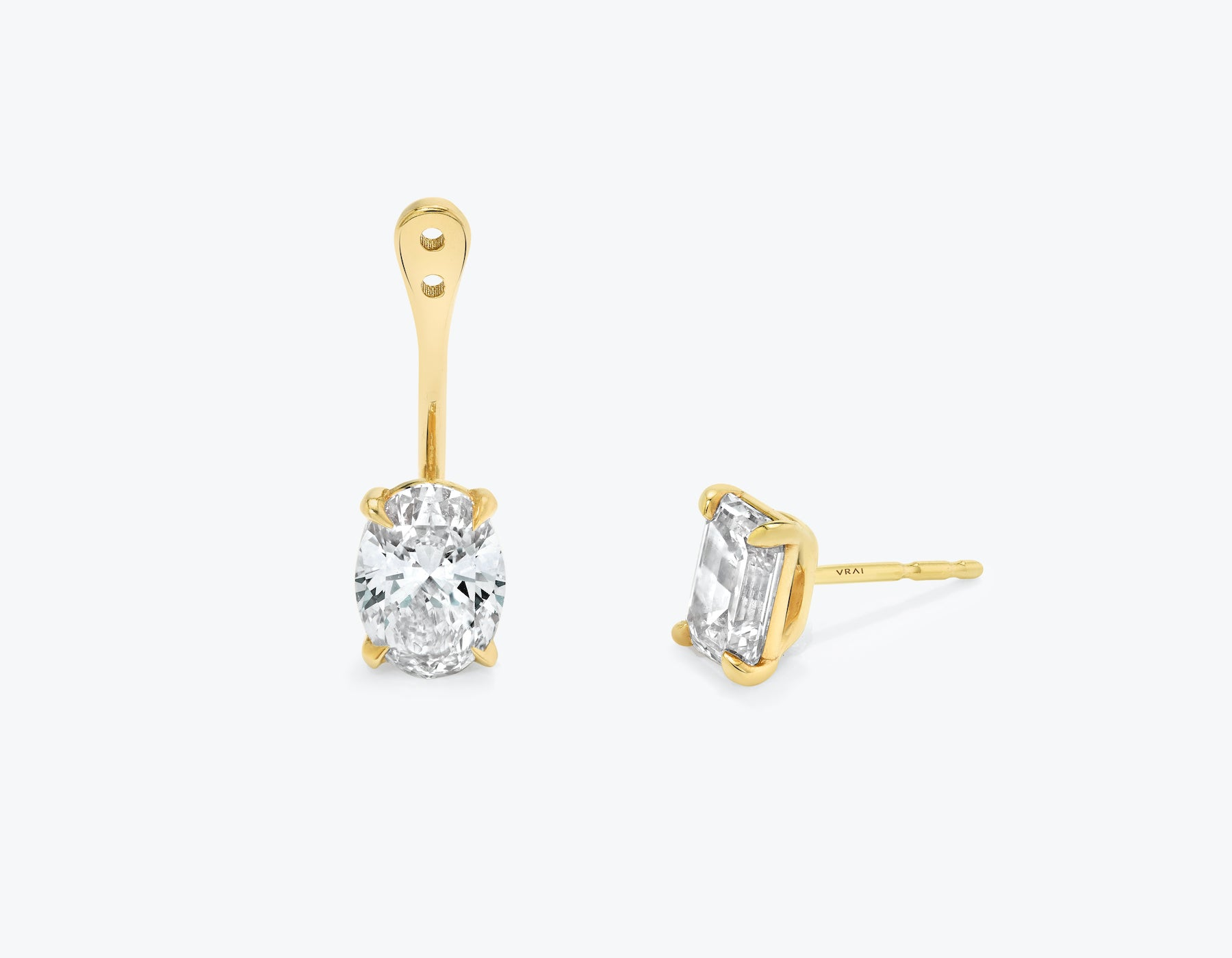 Vrai solitaire oval diamond drop ear jackets made in 14k solid gold with sustainably created diamonds with round solitaire diamond stud, 14K Yellow Gold