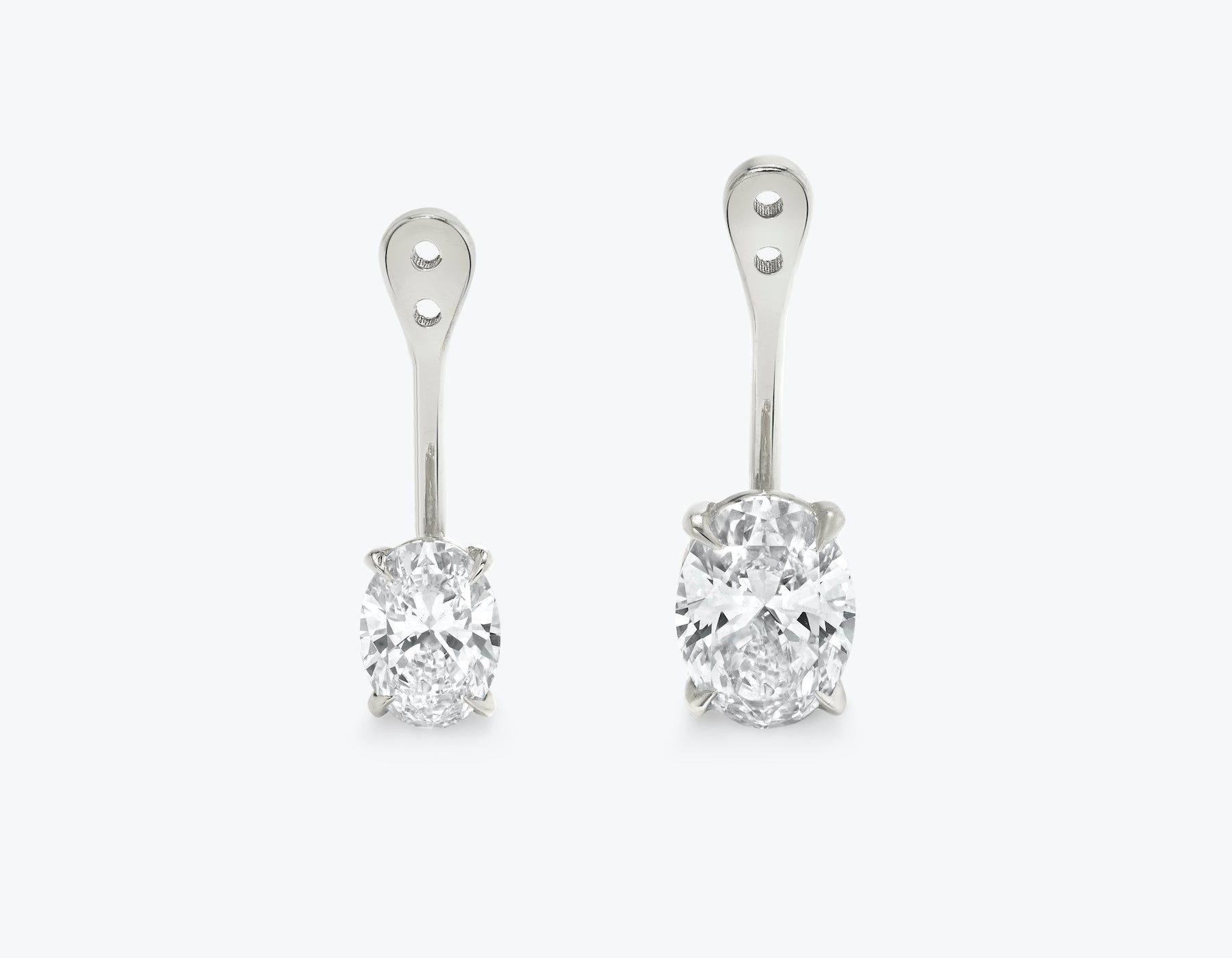 Vrai solitaire oval diamond drop ear jackets made in 14k solid gold with sustainably created diamonds, 14K White Gold