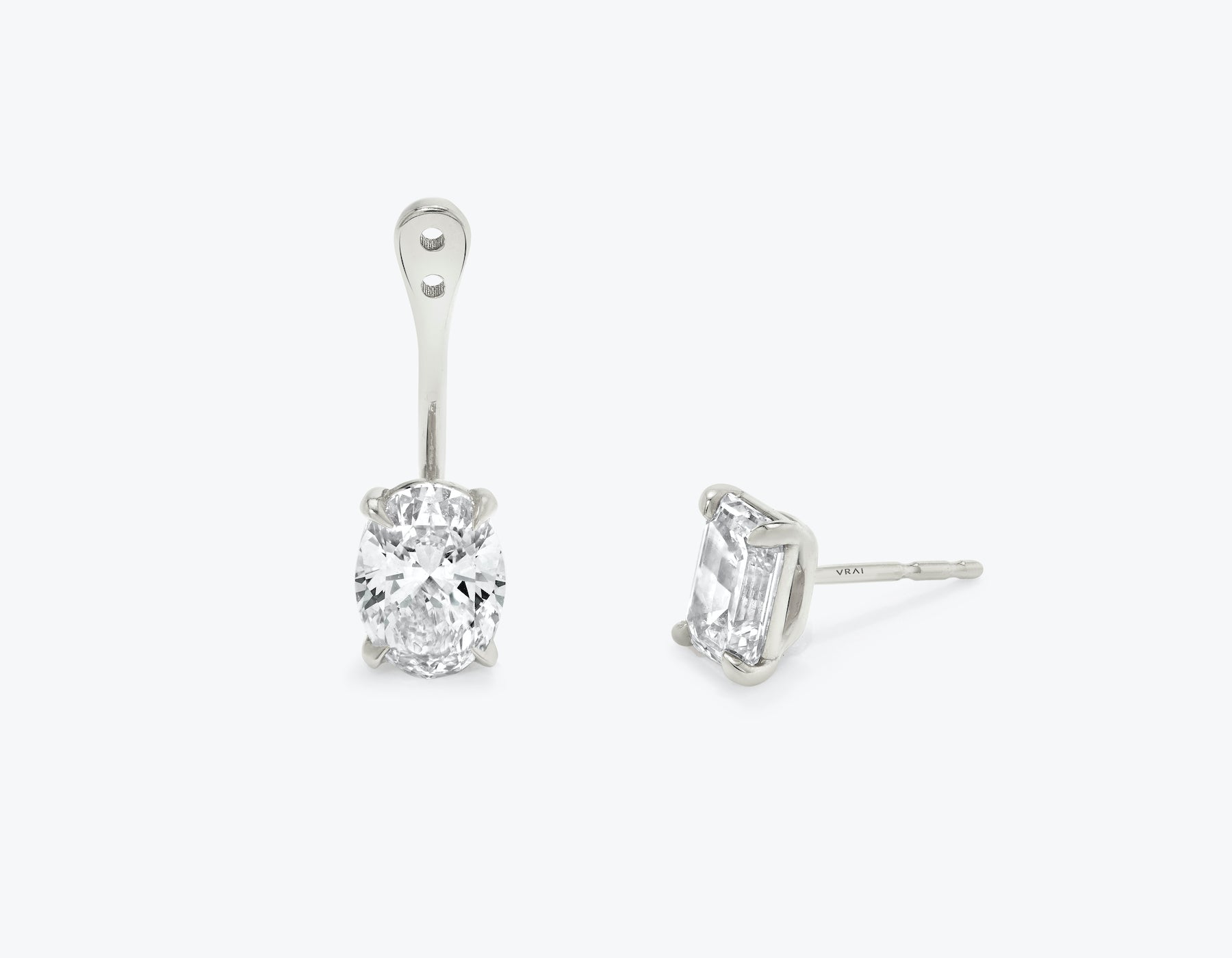 Vrai solitaire oval diamond drop ear jackets made in 14k solid gold with sustainably created diamonds with round solitaire diamond stud, 14K White Gold