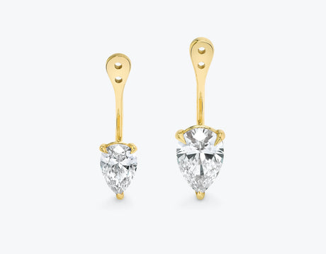 Vrai solitaire pear diamond drop ear jackets made in 14k solid gold with sustainably created diamonds, 14K Yellow Gold