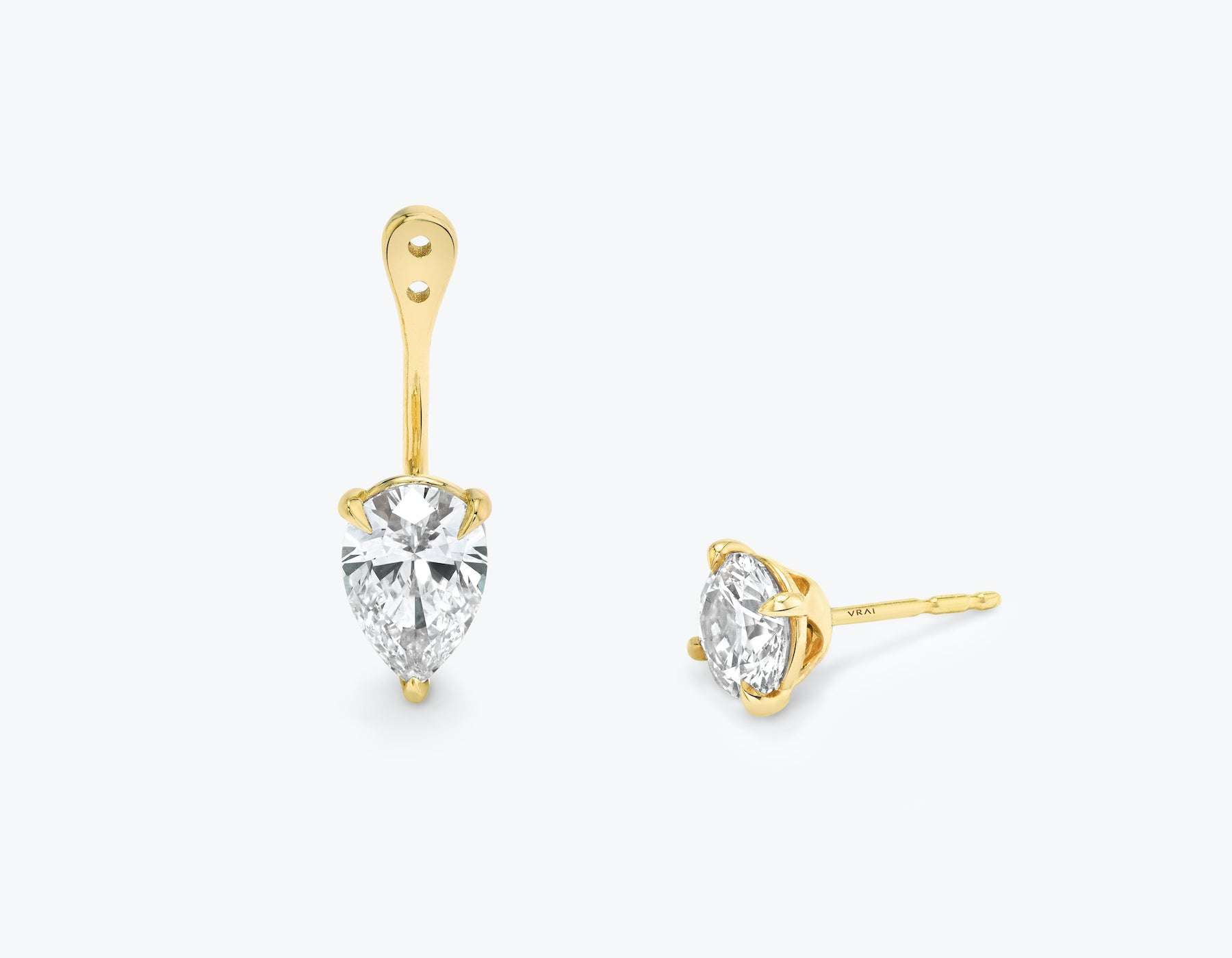 Vrai solitaire pear diamond drop ear jackets made in 14k solid gold with sustainably created diamonds with round solitaire diamond stud, 14K Yellow Gold