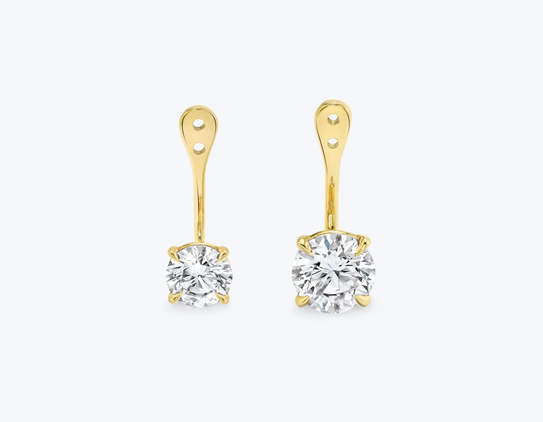 Vrai solitaire round brilliant diamond drop ear jackets made in 14k solid gold with sustainably created diamonds, 14K Yellow Gold