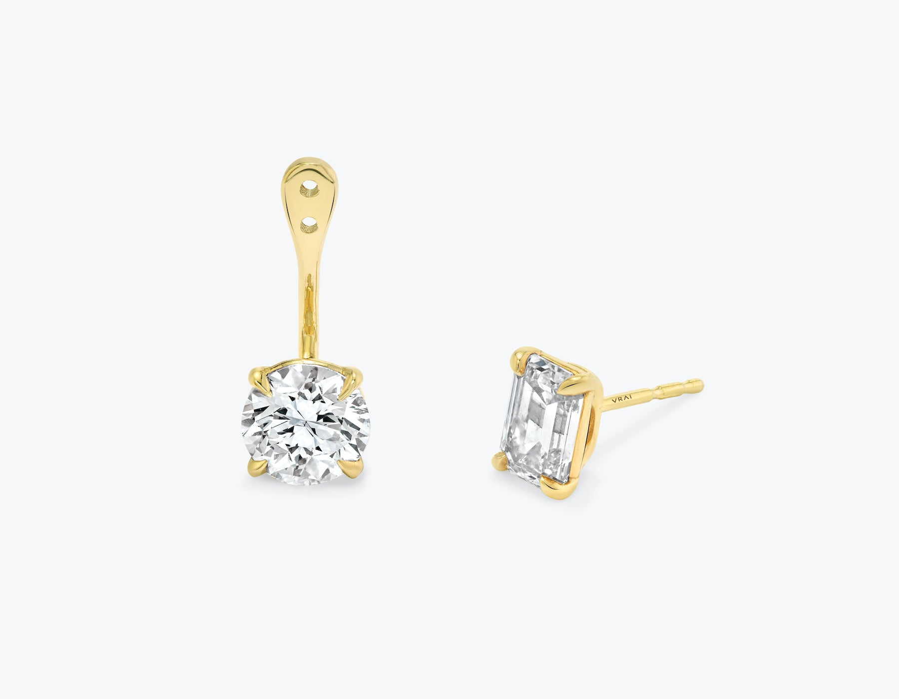 Vrai solitaire round brilliant diamond drop ear jackets made in 14k solid gold with sustainably created diamonds with round solitaire diamond stud, 14K Yellow Gold