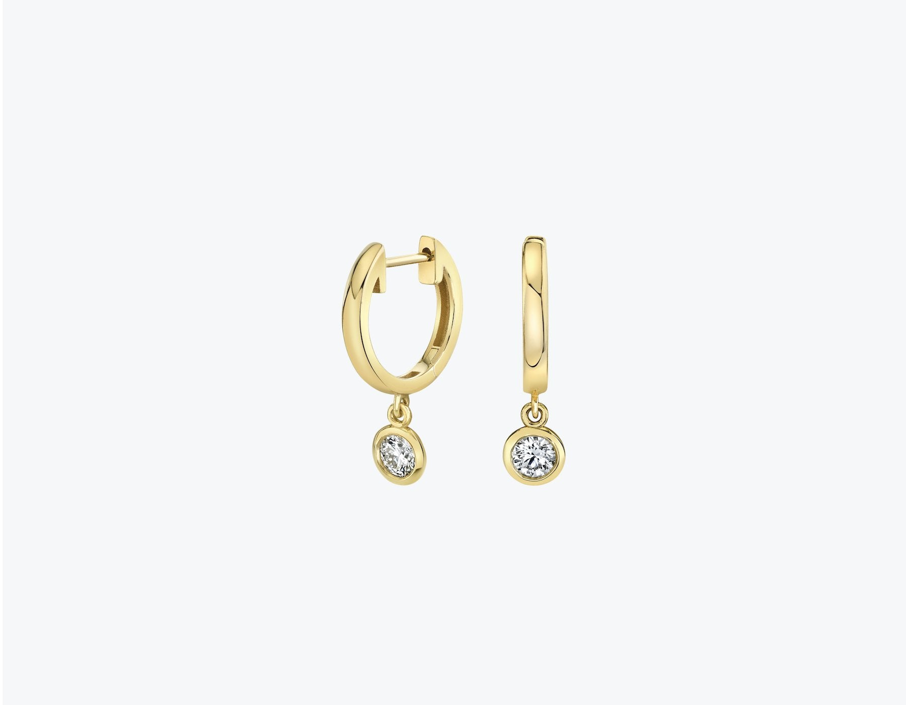 VRAI Round diamond bezel drop huggie hoop in 14k solid gold and sustainably created diamonds, 14K Yellow Gold