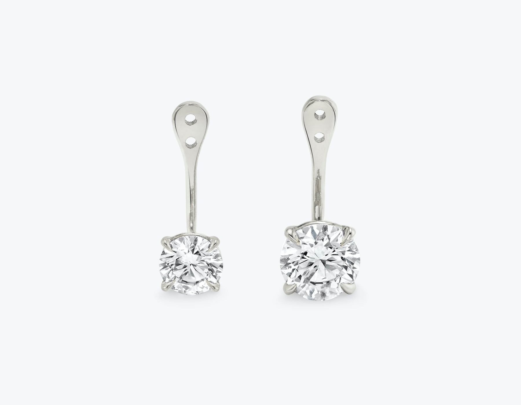 Vrai solitaire round brilliant diamond drop ear jackets made in 14k solid gold with sustainably created diamonds, 14K White Gold