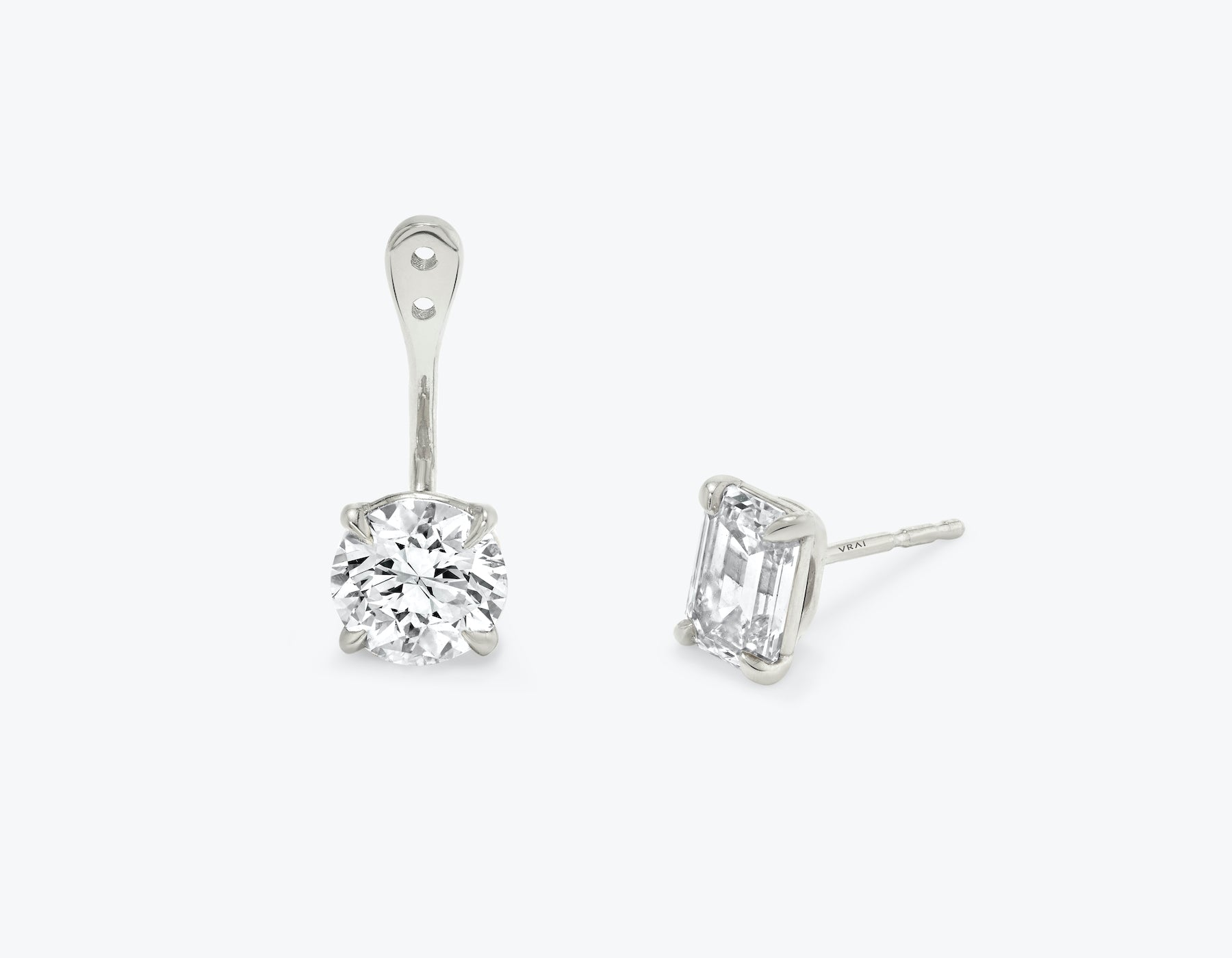Vrai solitaire round brilliant diamond drop ear jackets made in 14k solid gold with sustainably created diamonds with round solitaire diamond stud, 14K White Gold