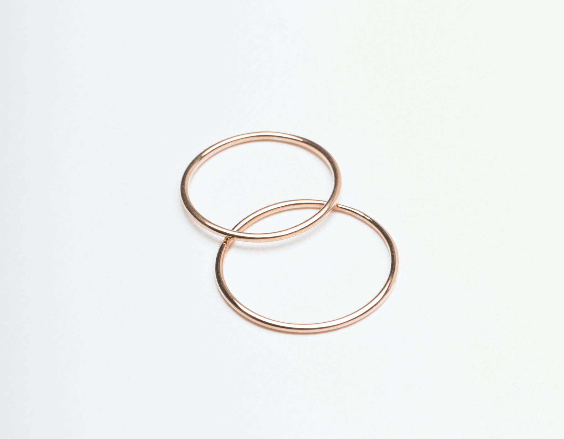 Skinny Stacker Ring 14k solid gold Vrai & Oro plain round thin band, 14K Rose Gold