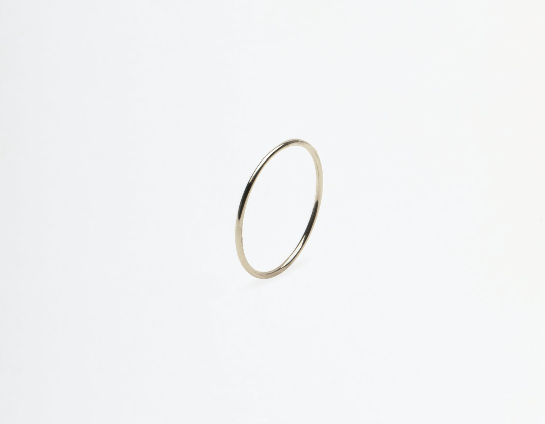 Vrai and Oro 14k solid gold Skinny Stacking Ring single minimalist band, 14K White Gold