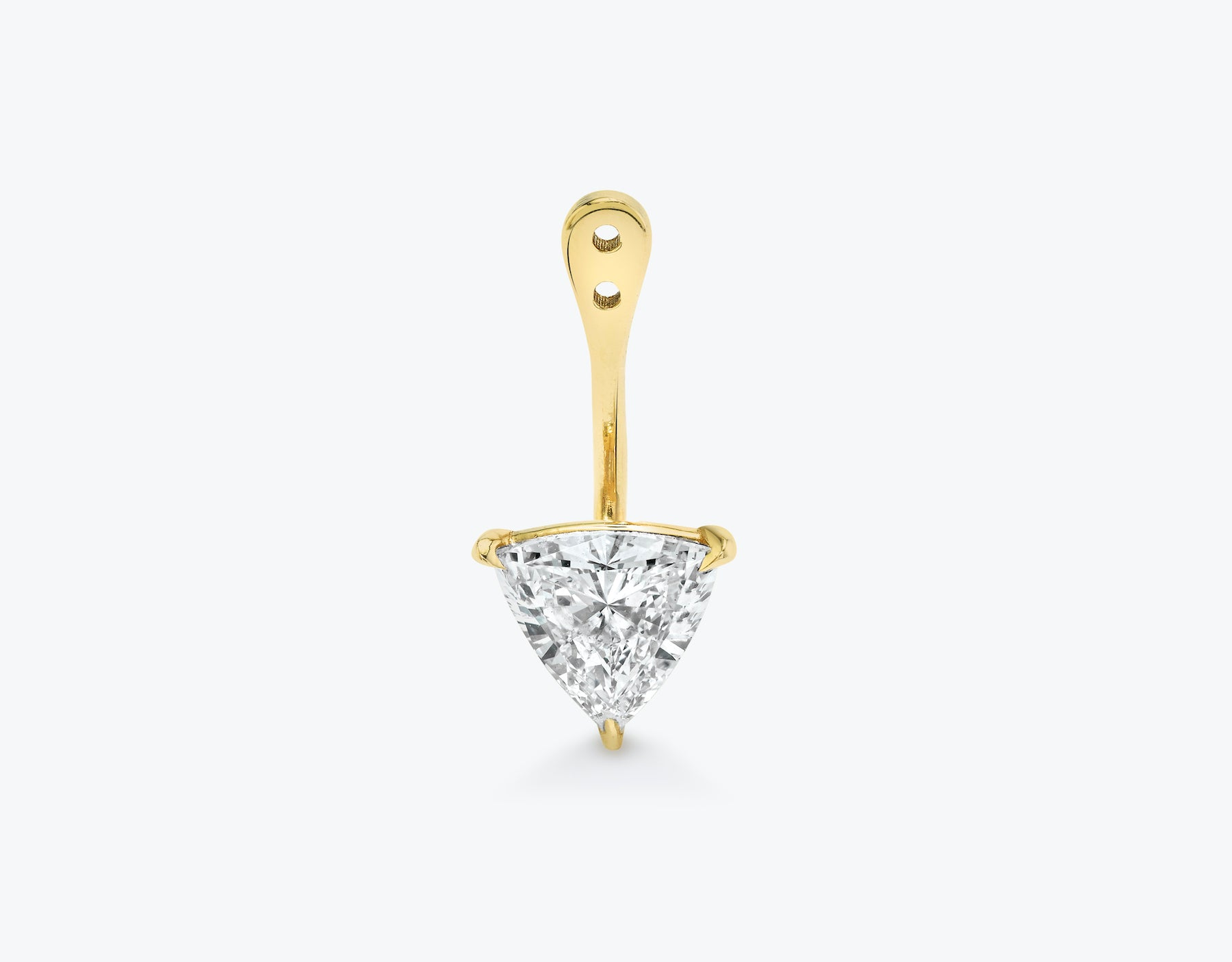Vrai solitaire trillion diamond drop ear jackets made in 14k solid gold with sustainably created diamonds, 14K Yellow Gold