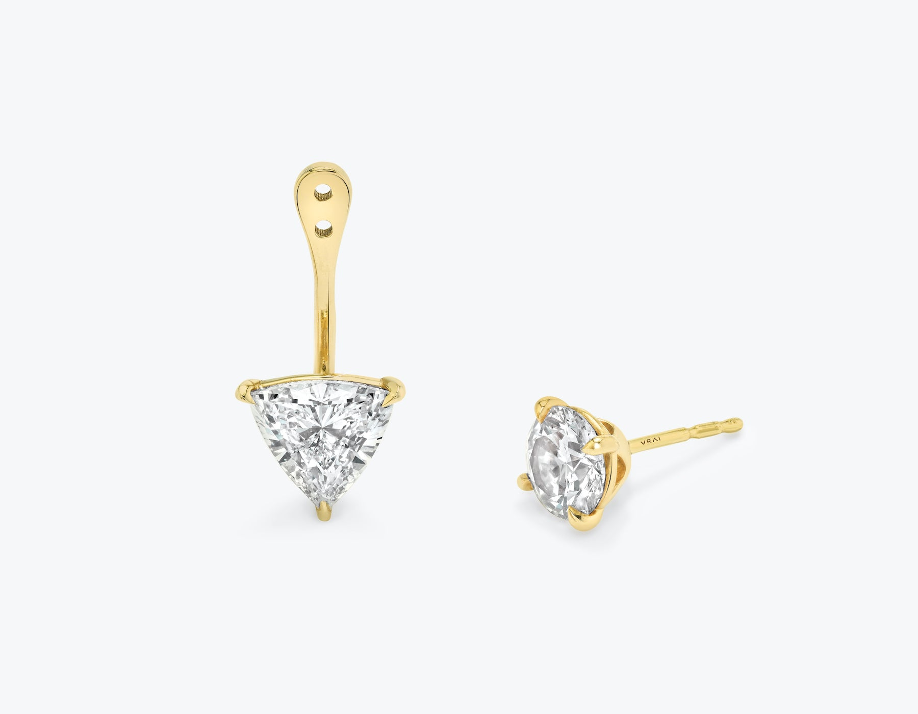 Vrai solitaire trillion diamond drop ear jackets made in 14k solid gold with sustainably created diamonds with round solitaire diamond stud, 14K Yellow Gold